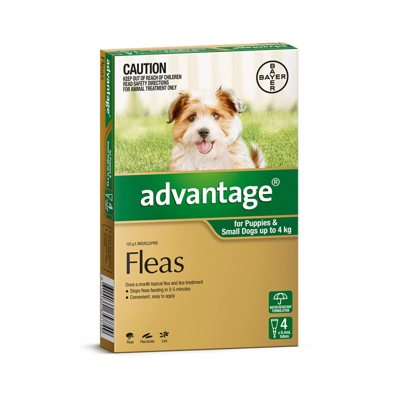 Advantage Green Spot-On for Puppies & Small Dogs - 4 Pack 1