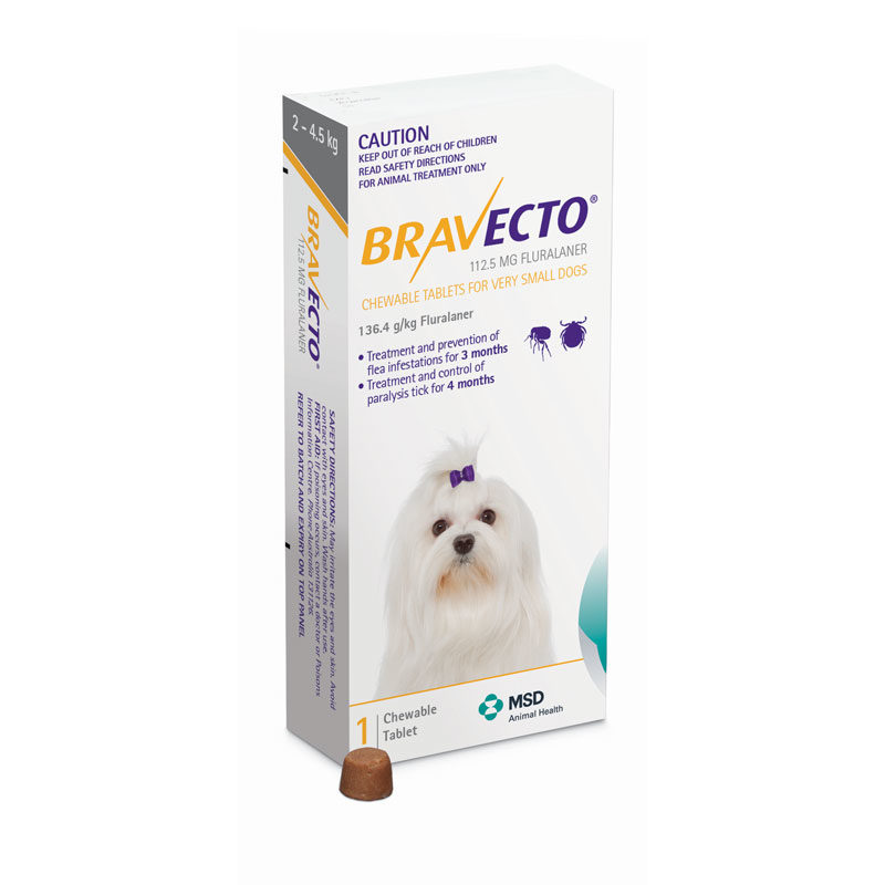 Bravecto Yellow Chew for Very Small Dogs - Single 1