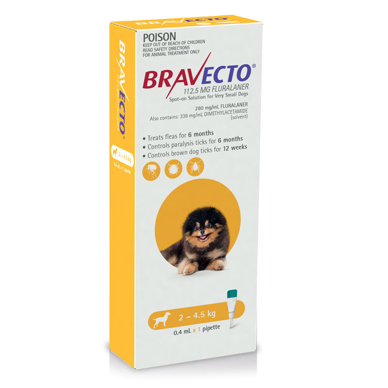 Bravecto Yellow Spot-On for Very Small Dogs - Single 1