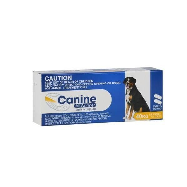 Canine All Wormer 40kg - 2 Tablets 1