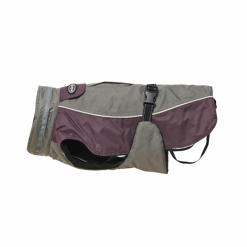 BUSTER Classic Winter Dog Coat Steel Grey/Black Plum X-Large 1