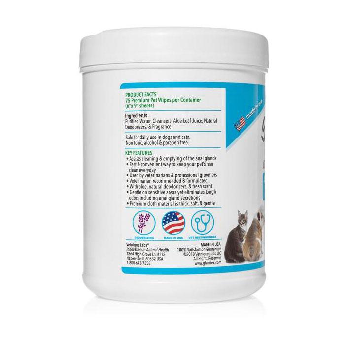 Glandex Anal Gland Hygienic Pet Wipes 75 Pack 3