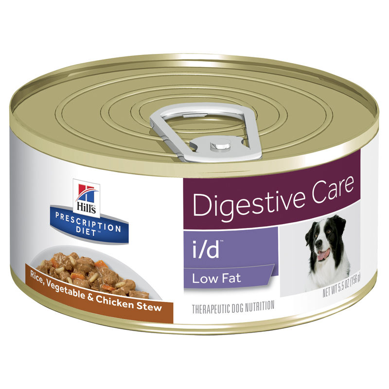 Hills Prescription Diet Canine i/d Digestive Care/GI Restore Low Fat Rice, Chicken & Vegetable Stew 156g x 24 Cans 1