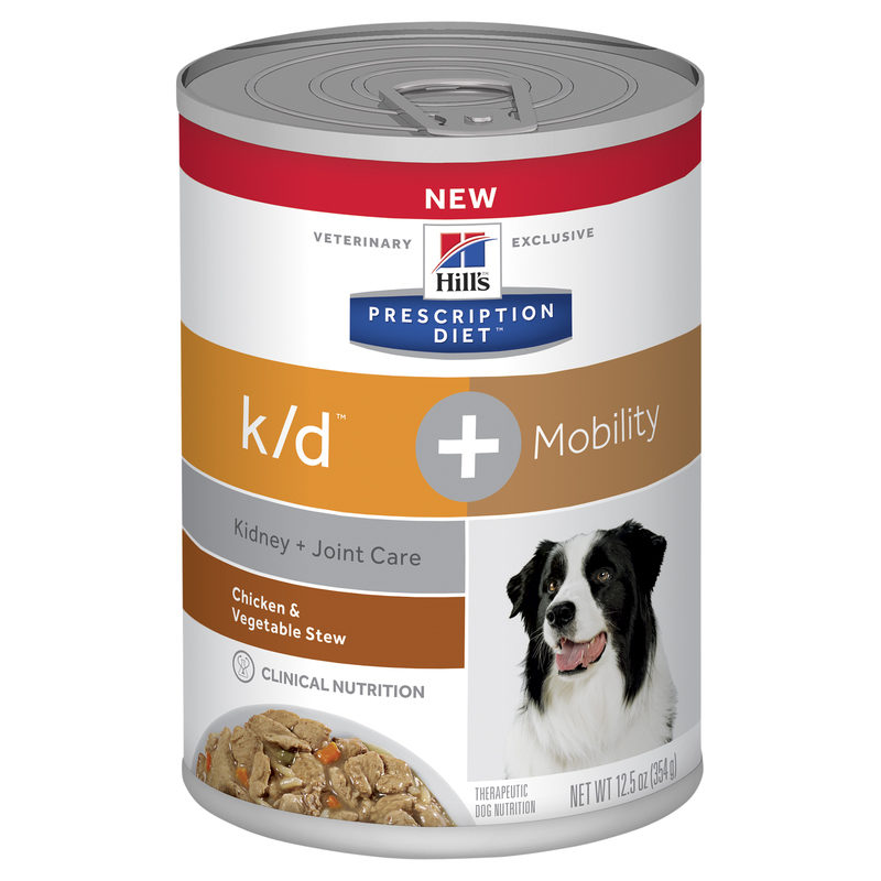 Hills Prescription Diet Canine k/d Kidney Care + Mobility Chicken & Vegetable Stew 354g x 12 Cans 1