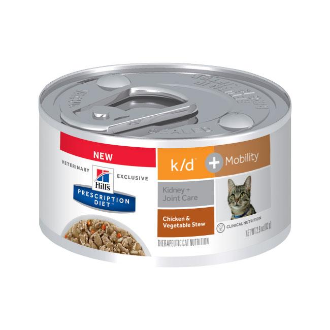 Hills Prescription Diet Feline k/d Kidney Care + Mobility Chicken & Vegetable Stew 82g x 24 Cans 1