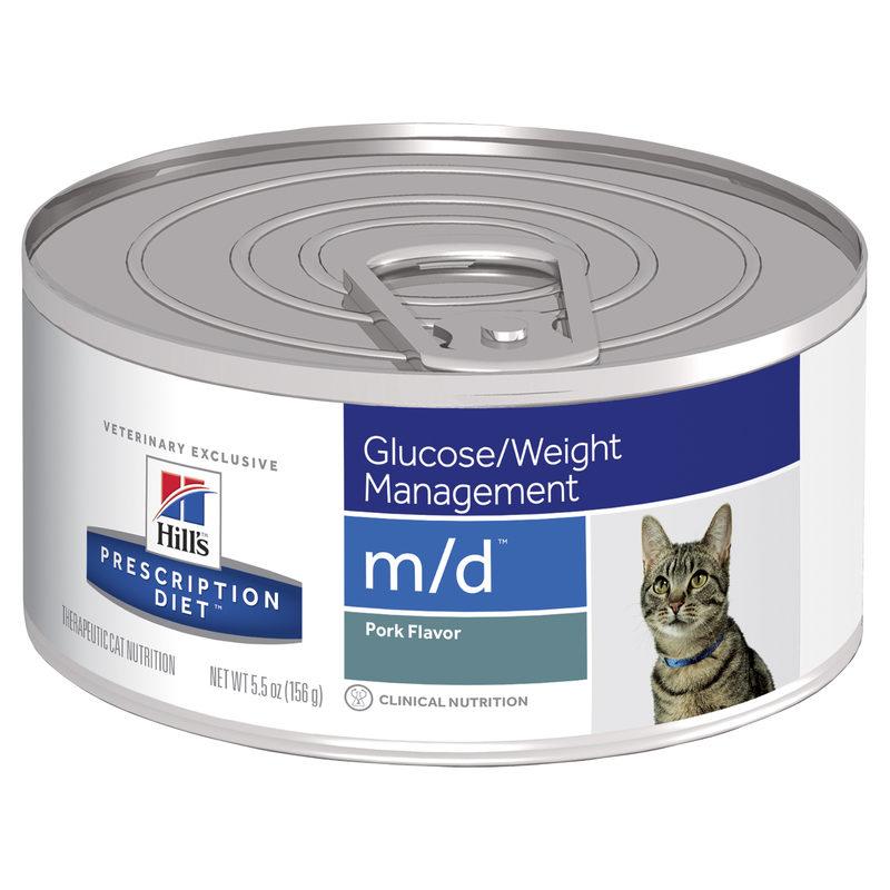 Hills Prescription Diet Feline m/d Glucose/Weight Management Pork Flavour 156g x 24 Cans 1