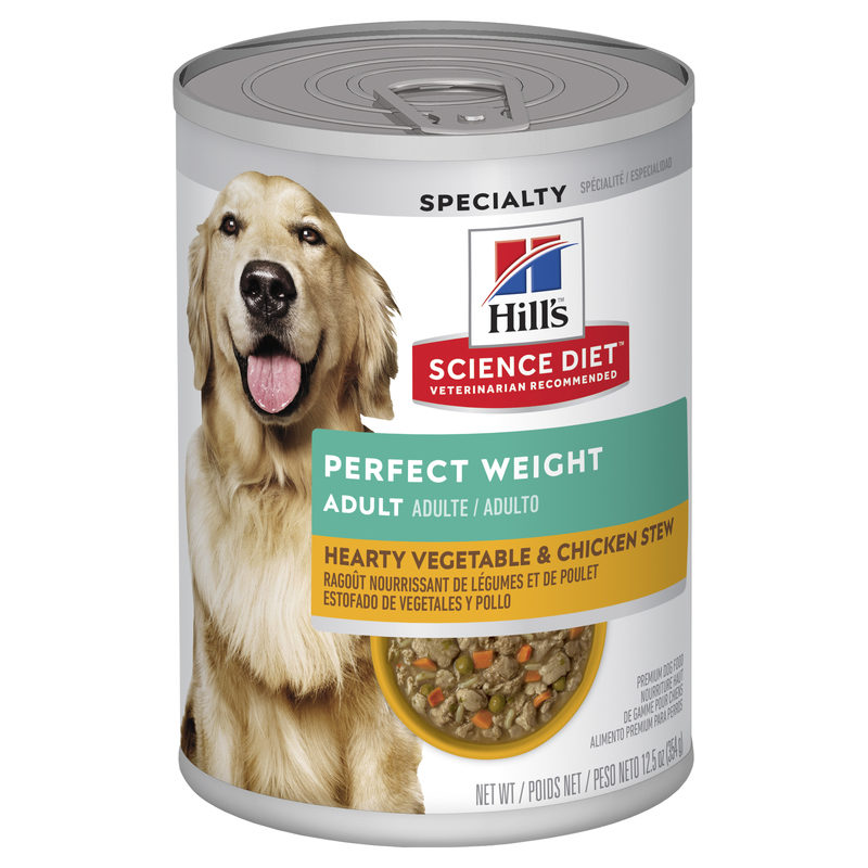 Hills Science Diet Adult Dog Perfect Weight Hearty Vegetable & Chicken Stew 363g x 12 Cans 1