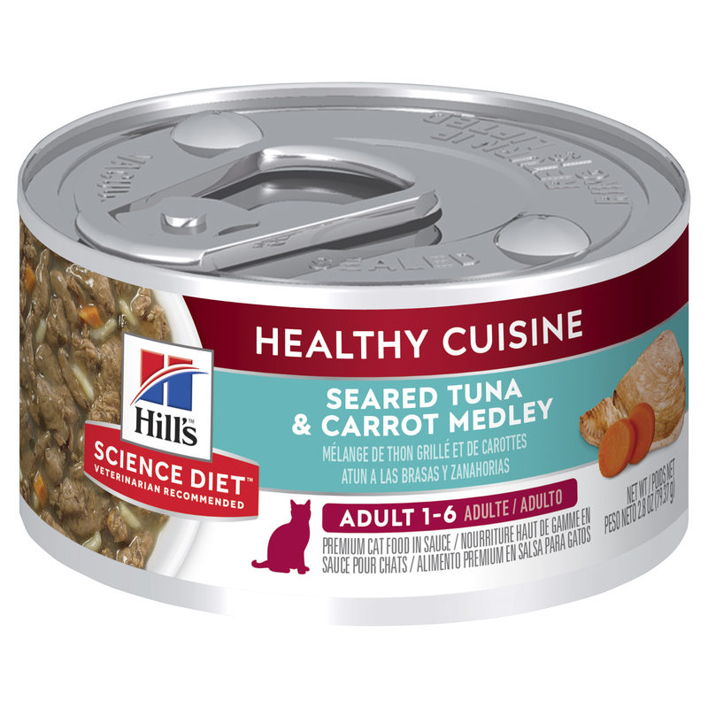 Hills Science Diet Adult Cat Healthy Cuisine Seared Tuna & Carrot Medley 79g x 24 Cans 1