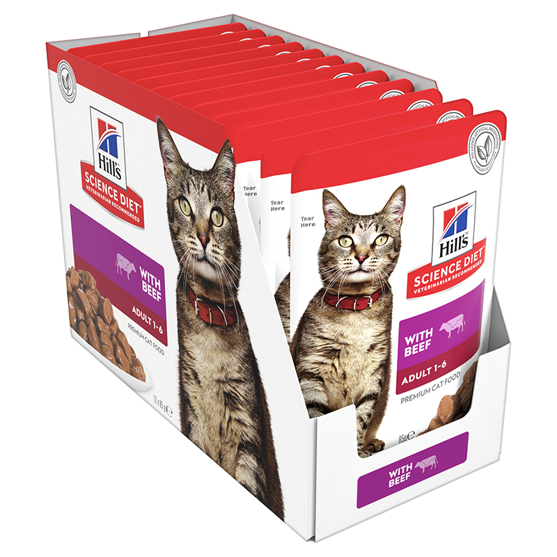 Hills Science Diet Adult Cat with Beef 85g x 12 Pouches 1