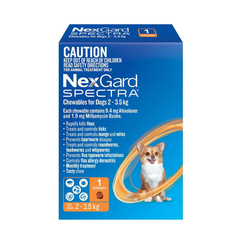 NexGard Spectra Orange Chew for Very Small Dogs (2-3.5kg) - Single 1