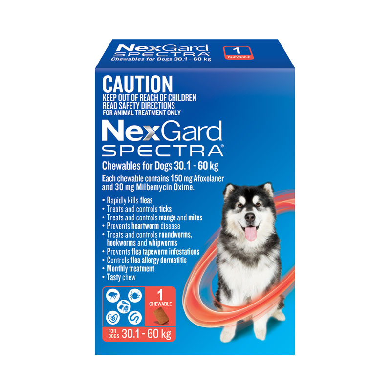 NexGard Spectra Red Chew for Very Large Dogs (30.1-60kg) - Single 1