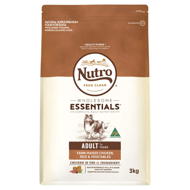 Nutro Wholesome Essentials Adult Dog Chicken Rice & Vegetables 3kg 1