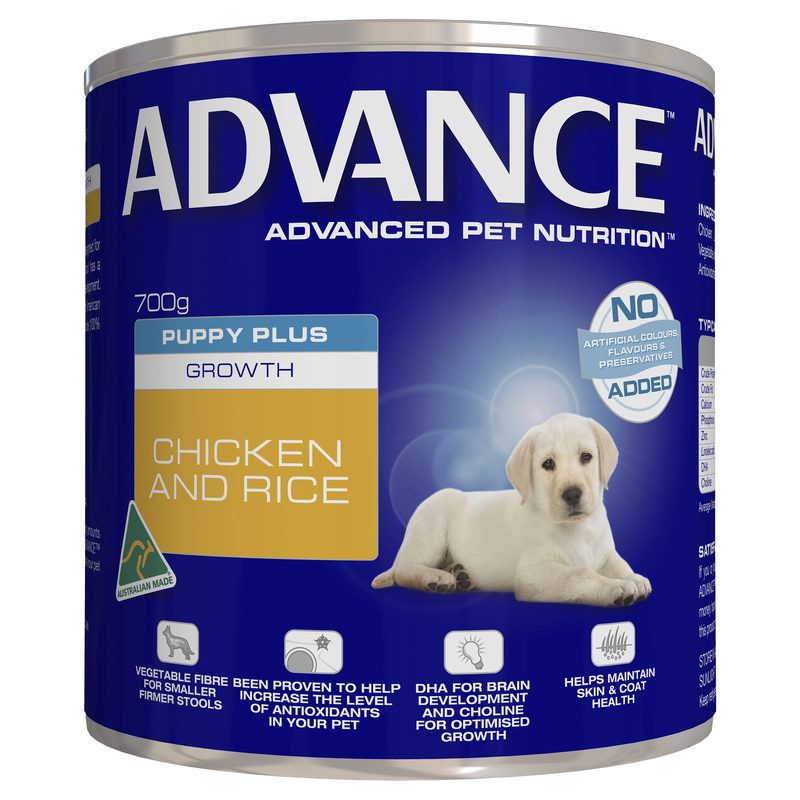 Advance Puppy Plus Growth Chicken & Rice 700g x 12 Cans 1