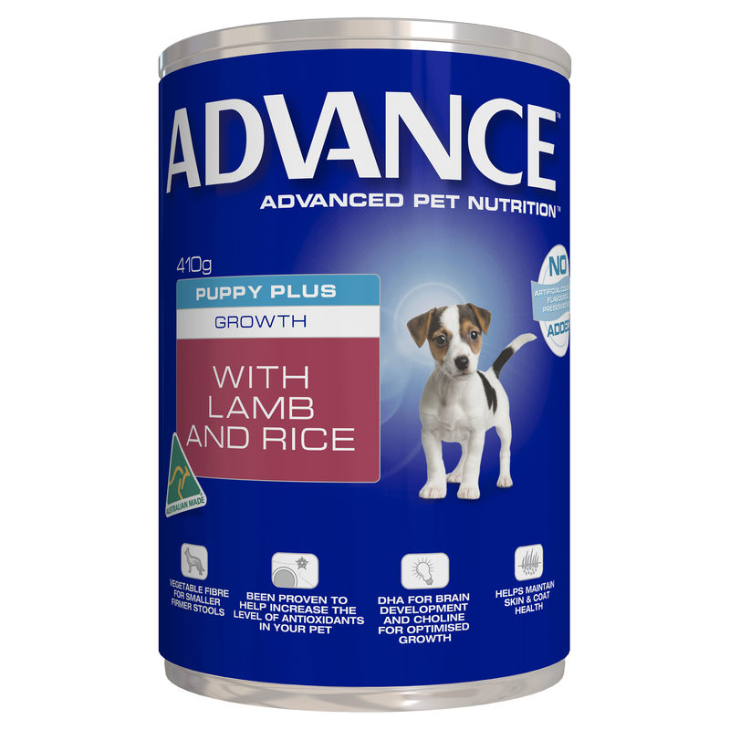 Advance Puppy Plus Growth Lamb & Rice 410g x 12 Cans 1