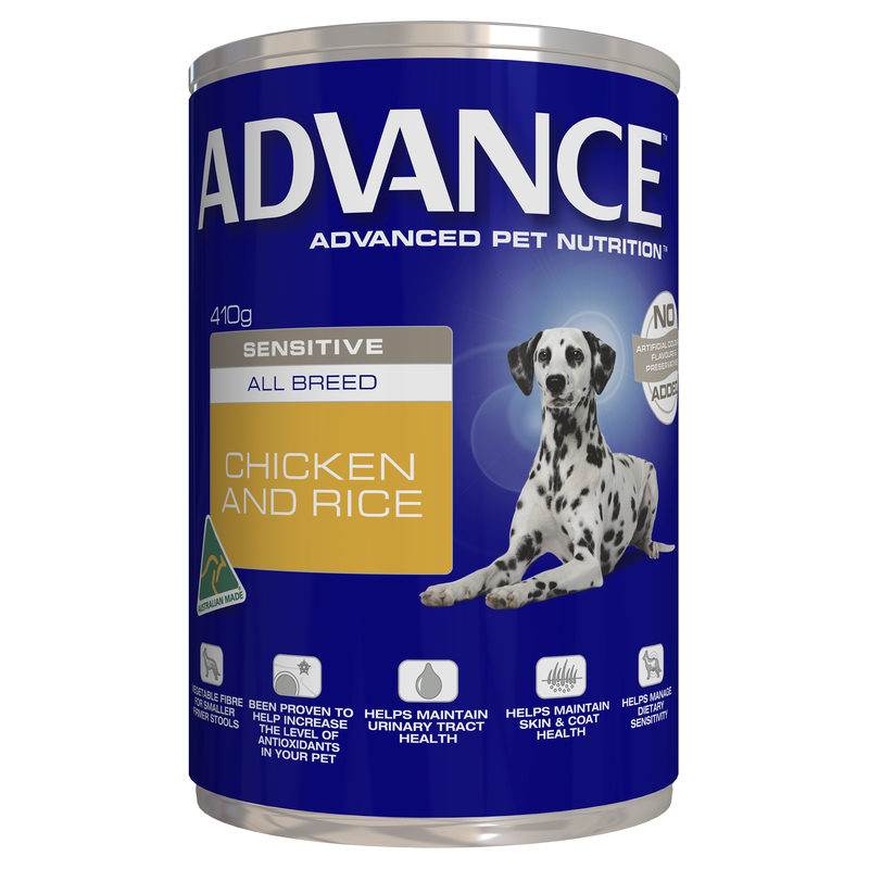 Advance Adult Dog Sensitive All Breed Chicken & Rice 410g x 12 Cans 1