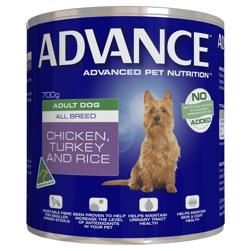Advance Adult Dog Chicken Turkey & Rice 700g x 12 Cans 1