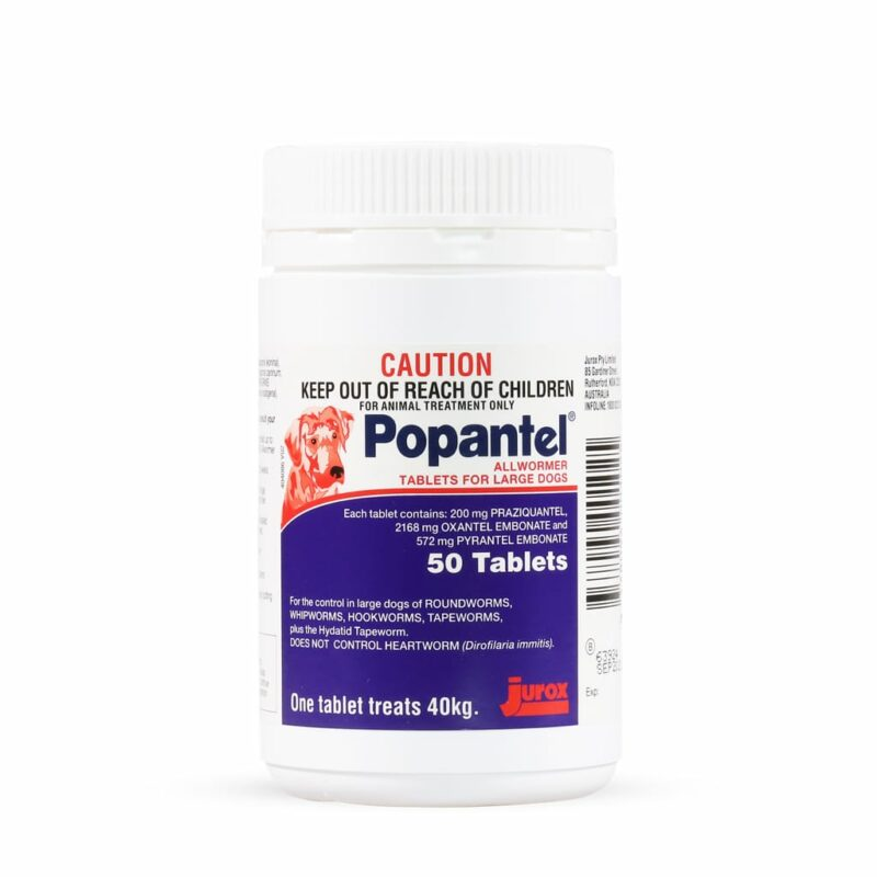 Popantel Allwormer Tablets for Large Dogs - 50 Pack 1