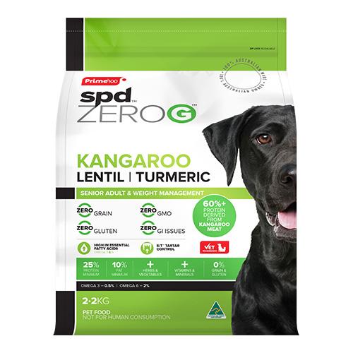 Prime100 SPD ZeroG Adult Dog Kangaroo, Lentil & Turmeric 2.2kg 1
