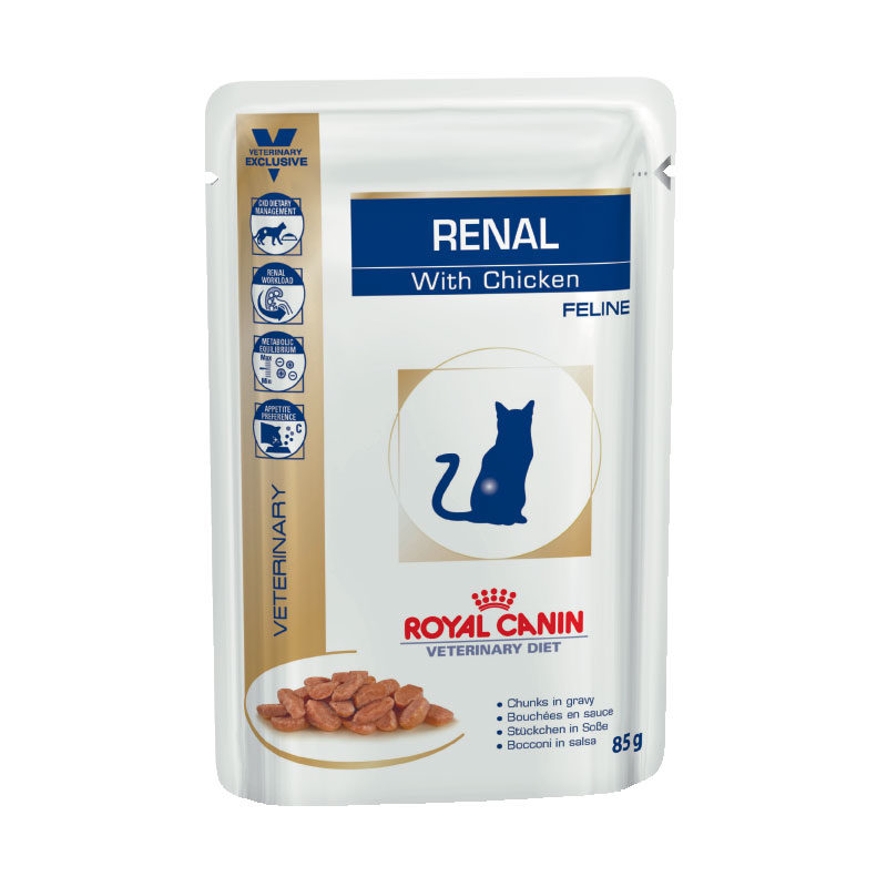 Royal Canin Vet Diet Feline Renal with Chicken 85g x 12 Pouches 1