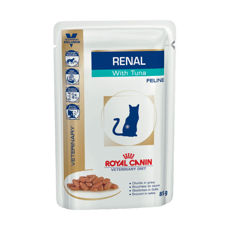 Royal Canin Vet Diet Feline Renal with Tuna 85g x 12 Pouches 1