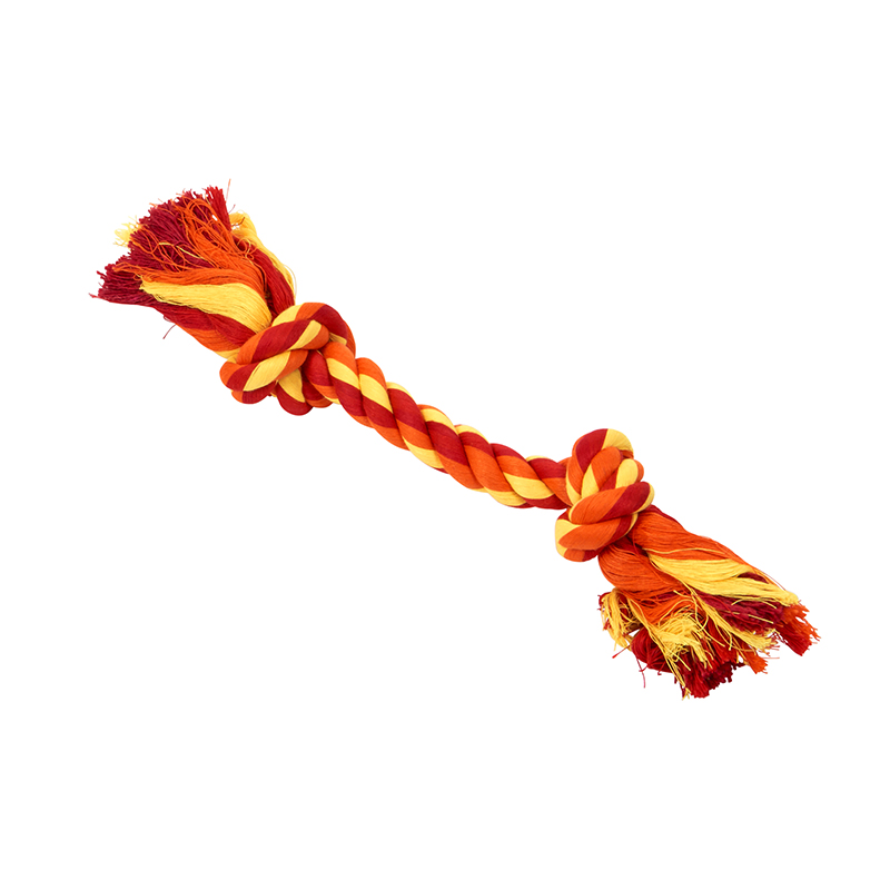 BUSTER Colour Dental Rope Dog Toy 2-Knot Red/Orange/Yellow Small 1