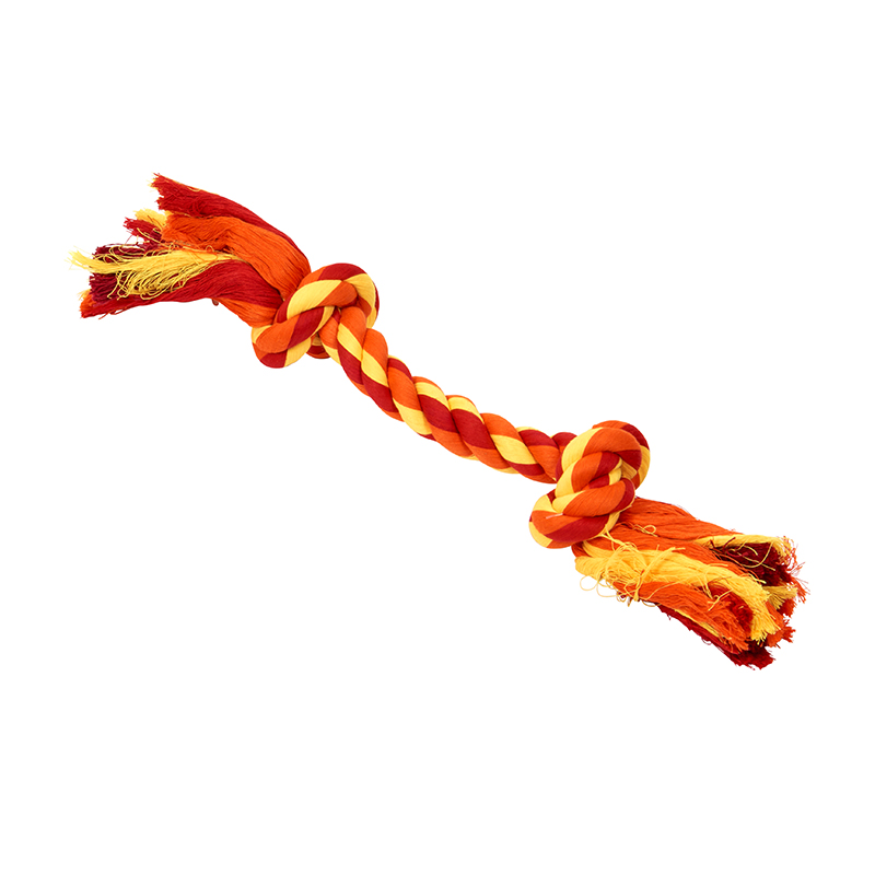 BUSTER Colour Dental Rope Dog Toy 2-Knot Red/Orange/Yellow Large 1
