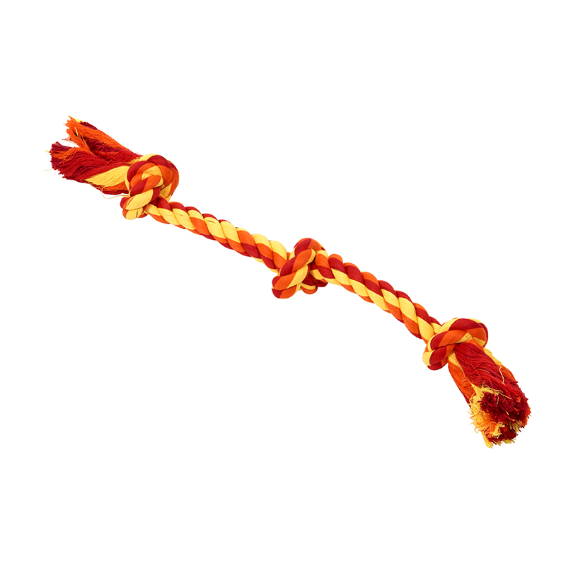 BUSTER Colour Dental Rope Dog Toy 3-Knot Red/Orange/Yellow Small 1