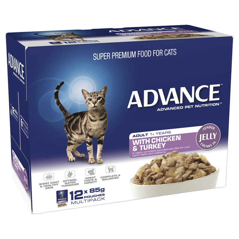 Advance Adult Cat with Chicken & Turkey in Jelly 85g x 12 Pouches 1