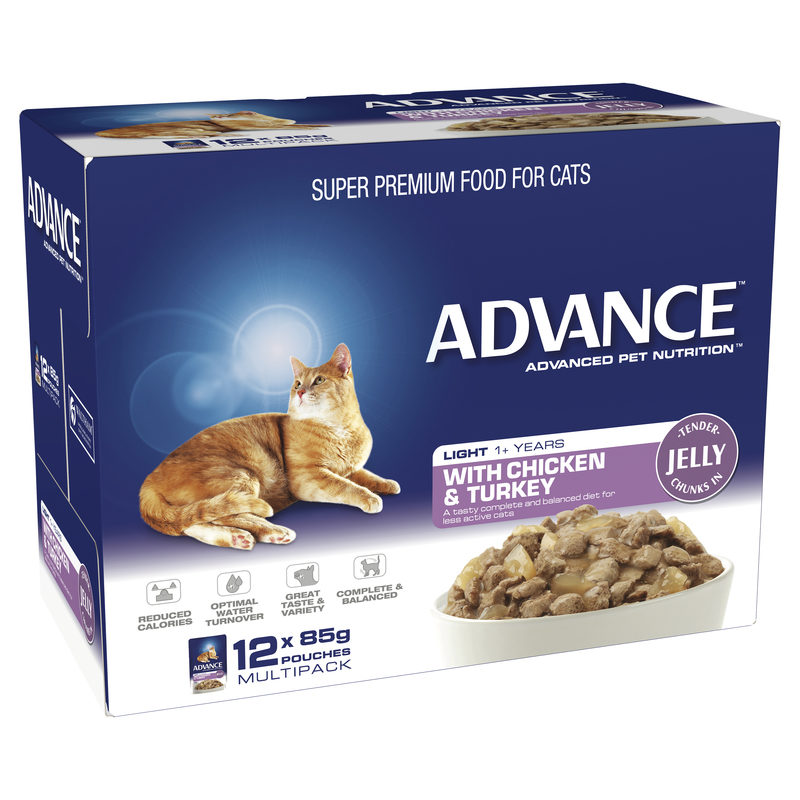 Advance Adult Cat Light with Chicken & Turkey in Jelly 85g x 12 Pouches 1