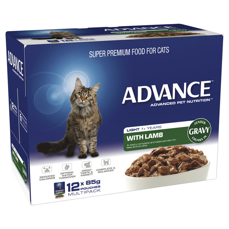 Advance Adult Cat Light with Lamb in Gravy 85g x 12 Pouches 1